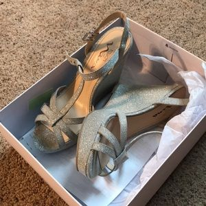 5bc97bc6b56b Sparkle silver wedge straps heels size 7.5